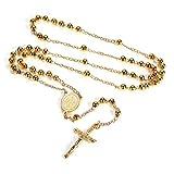 FaithHeart Auto Rosenkranz Kette für Damen und Herren mit Kreuz Anhänger Marienbild Gold Perlen Farbe 18K Vergoldet