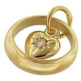 trendor Taufring mit Herz-Einhänger Gold 585 (14 Karat) zauberhafter Taufschmuck für Mädchen, Jungen oder Mütter, schöne Geschenkidee zur Taufe, 75257