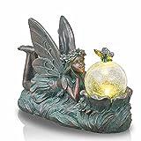 TERESA'S COLLECTIONS Elfen Gartendeko Figuren Solar Glaskugeln Beleuchtung 32.5cm auf dem Bauch liegende Elfe Gartenfigur aus Polystein Bronze Garten Solarfiguren Dekoration für Außen