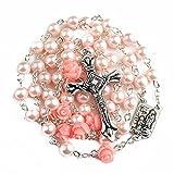 Nazareth Store Katholische rosa Perle Perlen Rosenkranz Halskette 6pcs Unsere Rose Lourdes Medaille & Kreuz NS