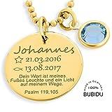 Taufkette Gold Junge Mädchen Gravur Taufspruch ❤️ Namenskette Taufe ❤️ Monatsstein Taufschmuck mit Daten Psalm Taufspruch ❤️ Taufe Geschenk Goldkette Geburt Baby | HANDMADE IN GERMANY