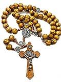 Jerusalem Rosenkranz aus Olivenholz mit katholischer NR-Medaille, handgefertigt
