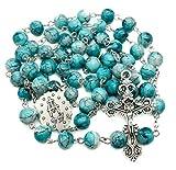 Nazareth Store Katholische Türkis Marmor Glasperlen Rosenkranz Halskette Wunderbare Medaille & Kreuz - Samt Tasche