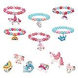 Heyu-Lotus 12 Stück Kinder Einhorn Armband Ring Set, Mädchen Schmuck Perlen Armband mit bunten verstellbaren Ringen, Freundschaftsschmuck für Geburtstagsfeier Gefälligkeiten