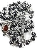 Nazareth Market Store Rosenkranz Hämatit, den Schwarzer Stein Lange Kreuz Anhänger Perlen Perlen Halskette Heiliges Land