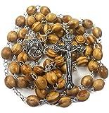 Nazareth Store Rosenkranz-Halskette aus Olivenholz mit Metallkreuz im Samtgeschenkbeutel